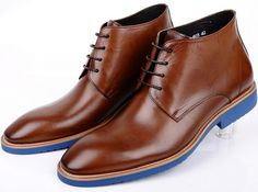 97.67$  Watch here - http://alihso.worldwells.pw/go.php?t=1384091355 - New brown tan / black pointed toe mens casual shoes ankle boots genuine leather man outdoor shoes man weddiing shoes 97.67$