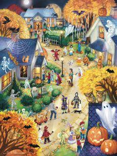 Vermont Christmas Company Halloween Town Countdown to Halloween Calendar & Game Halloween Puzzles, Halloween School Treats, Halloween Party Supplies, Cute Halloween, Spooky Halloween, Holidays Halloween, Vintage Halloween, Halloween Crafts, Halloween Night
