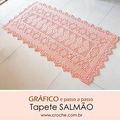 Bom dia!!! Tem novidade no blog www.croche.com.br Tapete Salmão - Gráfico e passo a passo . . . . . . . . . . .… Crochet Bedspread, Crochet Doilies, Crochet Stitches Patterns, Stitch Patterns, Samuel Ramos, Love Crochet, Knit Crochet, Pet O, Chicken Scratch