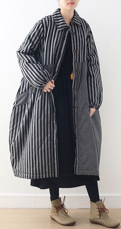 women oversize winter jacket POLO collar outwear gray striped patchwork thick women parka Wool Coats, Sweater Coats, Trench Coats, Plus Size Down Coats, Fashion Coat, Womens Parka, Warm Coat, Grey Stripes, Coats For Women