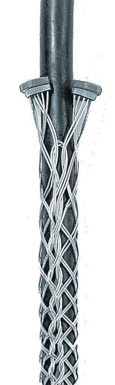 "Hubbell 02212042 Kellems Tin Coated Bronze Ring Type Conduit Riser Grip, Split Mesh, Lace Closing, Double Weave, 3820 lbs Breaking Strength, 2.50""-2.99"" Cable, 4"" Conduit Size, 18"" Length"