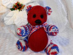 HandKnit Bears by B & B Kniddlings. We hope you will come see us at:  http://www.etsy.com/shop/Kniddlings A portion of all proceeds goes to Alzheimers Research.