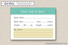 Mother to BEE Baby Shower Prediction Card - Mommy to BEE Printable Baby Shower Advice Card - Bumble Bee Baby Shower Game - Gender Neutral