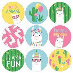 Check out these llama birthday water bottle labels, designed to match your whole llama fun party supplies, and easy to peel and stick for fast llama favors. Party Animals, Animal Party, Girl Birthday Decorations, Birthday Party Favors, Llamas, Happy Birthday Llama, Fun Party Themes, Water Party, Candy Cards