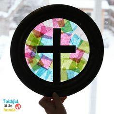 Tissue Paper Cross Suncatcher Window