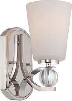 Nuvo Lighting 60/5491 Connie 1 Light Bathroom Sconce Polished Nickel Indoor Lighting Bathroom Fixtures Bathroom Sconce