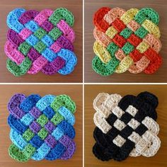Celtic Coasters These coasters are made by interleaving four rectangular crochet strips. You only need a small amount of of yarn. Crochet Coaster Pattern, Crochet Square Patterns, Crochet Motif, Crochet Yarn, Crochet Flowers, Crochet Stitches, Knitting Patterns, Knitting Ideas, Irish Crochet
