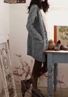 Cable Knit Oversized Cardigan - Grey - Super Comfy Knit Sweater, LOVE this hunky knit and style~Alix! How To Wear Cardigan, Oversized Knit Cardigan, Cardigan Outfits, Grey Knit Cardigan, Womens Knit Sweater, Winter Cardigan, Gray Sweater, Fall Winter Outfits, Autumn Winter Fashion