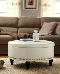 White Round Leather Coffee Table #leathercoffeetables Living Room Design  #coffeetabledesign Leather Design #decoratingideas