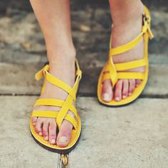 SALE 25 OFF. Yellow Leather Sandals Strap Women by CruponSandals, $63.00