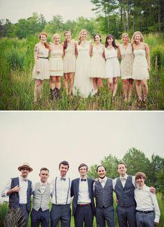 Mismatched bridesmaids AND groomsmen! Mismatched Groomsmen, Bridesmaids And Groomsmen, Groomsmen Outfits, Farm Wedding, Dream Wedding, Wedding Day, Wedding Parties, Rustic Wedding, Wedding Stuff