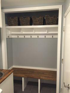 New front closet remodel garage Ideas Closet Bench, Front Hall Closet, Closet Redo, Hallway Closet, Closet Remodel, Closet Bedroom, Closet To Mudroom, Closet Ideas, Closet Shelves