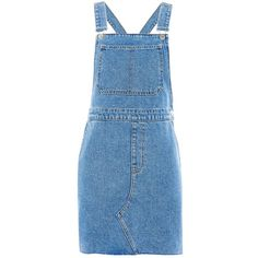 Topshop Moto Traditional Pinafore Dress (150 BRL) ❤ liked on Polyvore featuring dresses, mid stone, criss-cross back dresses, pinny dress, strap dress, strappy dress and blue dress