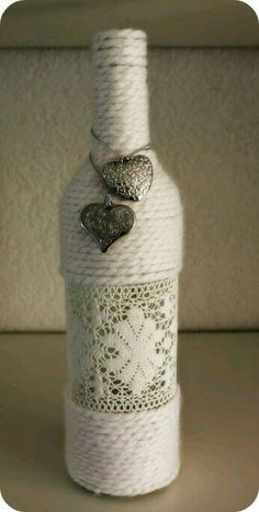 Decorated bottle #decoratedwinebottles