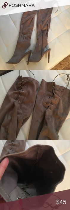 Over the knee boots Used one time is very good conditions, tie lace on upper back to tighten in ur thighs , side zip , super soft squads material , open heels and toe ... there is white stain but it's removable Shoes Lace Up Boots