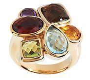 Bold Multi-gemstone Cluster Design Ring 14K Gold