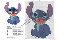 Stitch smiling from Lilo & Stitch free cross stitch pattern