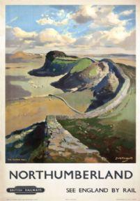 Hadrian's Wall, Northumberland. Vintage British Railways (ER) Travel poster by Jack Merriott