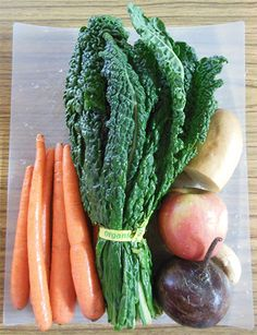 Kale And The Roots Juice- Kale Juice Recipe:  Kale, Carrots, Beet, Sweet Potato, Apple, Ginger.  Found on rawjuicecleanserecipes.com