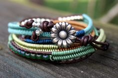 Macrame Wrap Bracelet - Boho Jewelry - Leather Clasp Flower Summer Colors