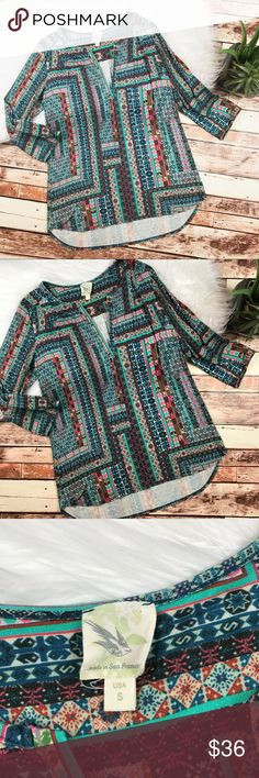 Weston boho printed blouse Size small, in excellent condition, no flaws! Length-26, bust-20 pit to pit ***NO modeling or trades! ::097 Anthropologie Tops Blouses