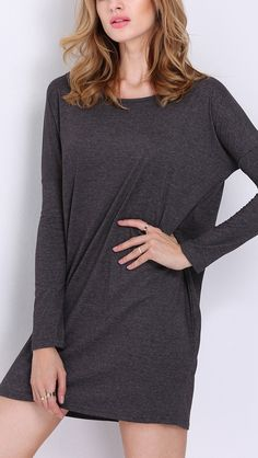 A dark grey long sleeve loose dress for when you want to be comfy but still look fabulous.