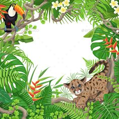 Buy Tropical Frame with Plants and Animals by Val_Iva on GraphicRiver. Colorful tropical leaves and flowers background. Square floral frame with funny Cougar Cub and Toucan sitting on lian. Jungle Theme Birthday, Safari Theme, Amazon Animals, Flower Girl Pictures, Tropical Frames, Flower Drawing Tutorials, Rainforest Animals, Forest Illustration, Flat Illustration