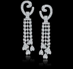 Gorgeous!! 8.31 carat diamond and platinum waterfall earrings. Regal Collections from Garrard