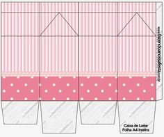 Rayas y Lunares Blanco y Rosa: Cajas para Imprimir Gratis. Aristocats Party, Dots Free, Milk Box, Oh My Fiesta, Masha And The Bear, Printable Box, Paper Gift Box, Free Boxes, Dollhouse Accessories