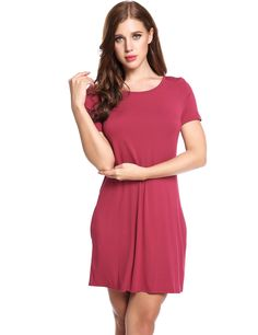 Red O-Neck Short Sleeve Solid Pleated Hem Elastic Casual Dress
