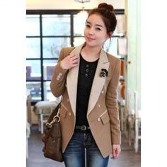 $22.03 Stylish Lapel Neck Long Sleeves Solid Color Double-Breasted Embellished Blazers For Women