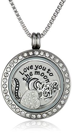 """Charmed Lockets \""""Love You To The Moon\"""" Pendant Necklace with Floating Charms ** Read more  at the image link."""