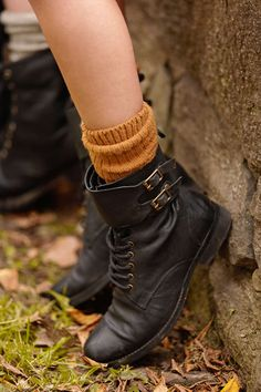 Love the cozy mustard sock with the boots combo, perfect for those crisp fall days in the leaves.(: