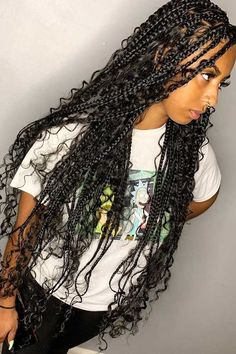 hairstyles Black curls - 25 Gorgeous Braids with Curls That Turn Heads Black Girl Braided Hairstyles, African Braids Hairstyles, Weave Hairstyles, Pretty Hairstyles, Protective Hairstyles, Black Women Hairstyles, Braids With Curls, Braids For Short Hair, Girls Braids