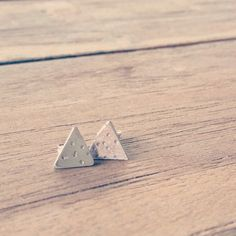 Polka Dot Triangle Geo Studs. Handmade Sterling Silver Earrings. Geometric Architectural Lines