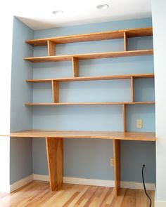 Furniture : 32 Unique Shelf Design Ideas For Multi-purpose - Perfect DIY Own Shelves And Study Desk Design With Wooden Material For Your Kids Room medium version Diy Bookshelf Wall, Desk Shelves, Wooden Shelves, Pine Shelves, Office Shelving, Library Shelves, Desk Nook, Unique Shelves, Diy Regal