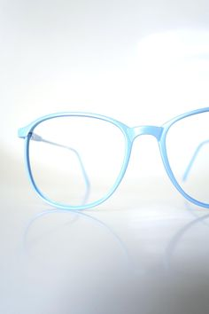 f7eebd5465 Vintage 1980s Round Blue Glasses - Light Ice Blue Sunglasses - Retro Blue  Womens Eyeglass Frames - Authentic Retro NOS Eyeglasses in Blue
