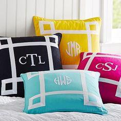 Ribbon Trim Monogram Pillow Cover #pbteen