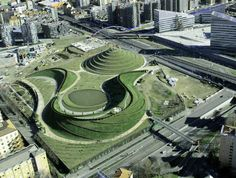 Spirals of Time, Parco Portello, Milan, Italy, 2002-2012, aerial view, architect landscape Charles Jencks (with LAND and Margherita Brianza)