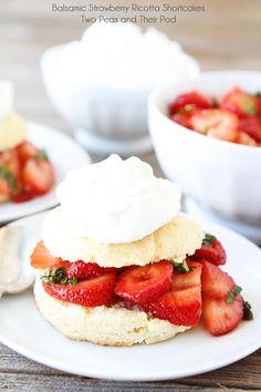 Balsamic Strawberry Ricotta Shortcakes