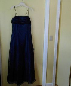 Prom Dress Formal Long Sz 13-14 Spaghetti Strap Black Empire Open Corset Tieback