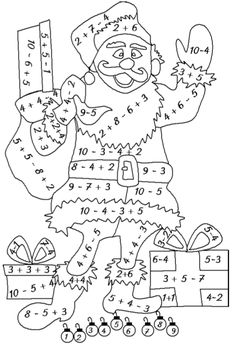 class coloring pages class 1 coloring pages for kids math … - Grundschule Math 4 Kids, Christmas Worksheets, Math Sheets, Color By Numbers, Free Printable Worksheets, Letter A Crafts, 1st Grade Math, School Resources, Christmas Colors