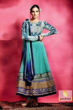 Pavitraa Exquisite Turquis Color Embroidery Salwar Suit more..