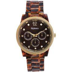 Style Watch, Women's Tortoise Plastic Bracelet 37mm SC1323 ($20) ❤ liked on Polyvore