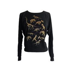 Dinosaur Skeleton Raglan Sweater Gold Ink American by friendlyoak
