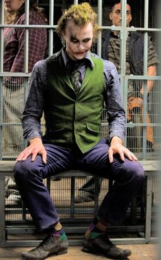Heath Ledger, The Dark Knight-He looks as crazy as his name, The Joker, along with his clothes.(but he's no joke)