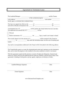 Tenants Who Want To Terminate Leases For Their Apartment And Rental Units  Can Use This Free Printable Contract To Fill Out With Their Landlords.
