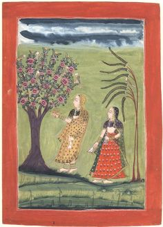 An illustration from a dispersed Ragamala series. A female devotee with an attendant standing under a tree whose branches are full of birds. Rajasthan School, Rajasthan, 1772