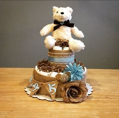 Rustic shabby diaper cake with birth date by JennyKnickDesigns