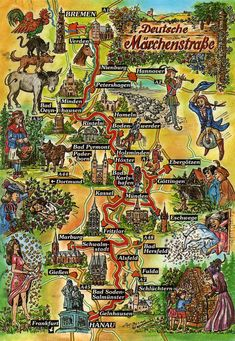 This illustrated map shows the German Fairy Tale Route. It is a 600 kilometres long route from Hanau in the south (place of birth of the Brother's Grimm) to Bremen in the north (Town Musician's of. German Fairy Tales, World Of Fantasy, Germany Travel, Places To See, Countryside, Beautiful Places, Castle, Around The Worlds, Vacation